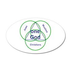 Three Religions under One God 35x21 Oval Wall Peel