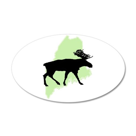 Go Green Maine Moose 35x21 Oval Wall Peel