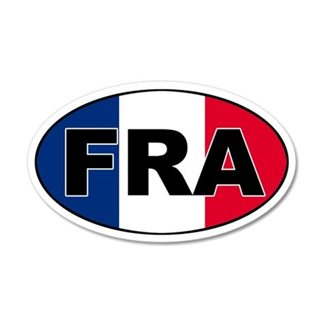 French (FRA) Flag 35x21 Oval Wall Peel
