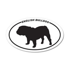 English Bulldog Silhouette 35x21 Oval Wall Peel
