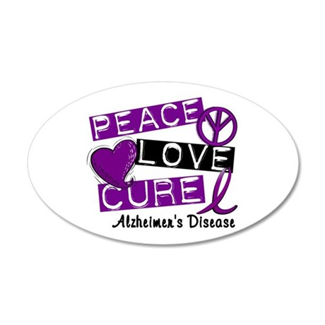 PEACE LOVE CURE Alzheimer's Disease 20x12 Oval Wal