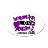 PEACE LOVE CURE Alzheimer's Disease Wall Decal