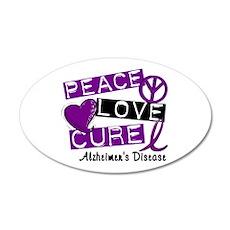 PEACE LOVE CURE Alzheimer's Disease 35x21 Oval Wal