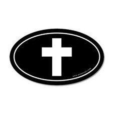 Cross (Crux Immissa) Sticker -Black (Oval)