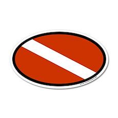 Scuba Diver Flag 35x21 Oval Wall Peel