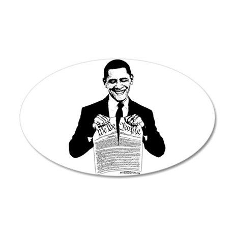 Obama Destroying Constitution 20x12 Oval Wall Peel