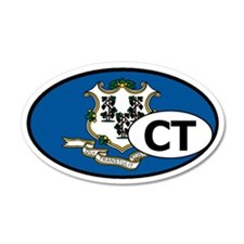 Connecticut State Flag 20x12 Oval Wall Peel