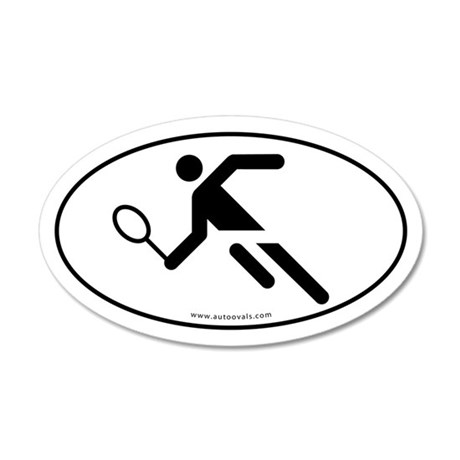 Tennis Player Auto Decal -White (Oval)