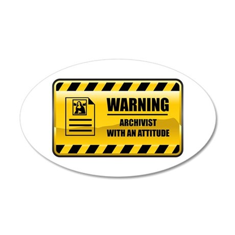 Warning Archivist 35x21 Oval Wall Peel