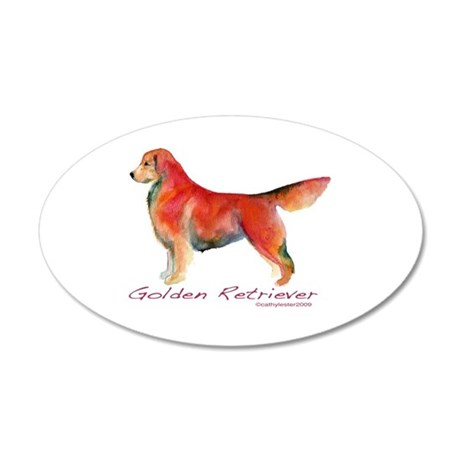 Golden Retriever in color 20x12 Oval Wall Peel