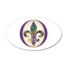 Fleur de lis Mardi Gras Beads 20x12 Oval Wall Peel