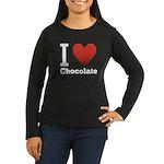 I Love Chocolate Women's Long Sleeve Dark T-Shirt