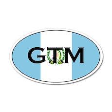 Guatemalan Oval Flag Stickers 35x21 Oval Wall Peel