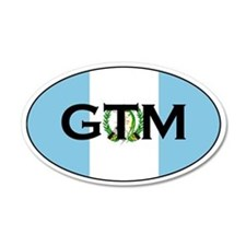 Guatemalan Oval Flag Stickers 35x21 Oval Wall Peel