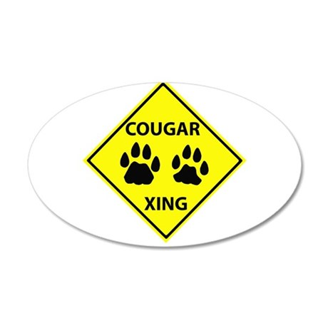 Cougar Mountain Lion Crossing 20x12 Oval Wall Peel