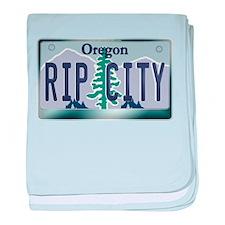"""RIP CITY"" Oregon License Plate baby blanket"