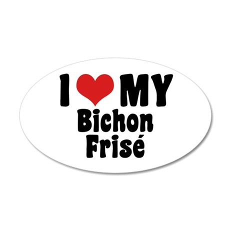 I Love My Bichon Frise 35x21 Oval Wall Peel