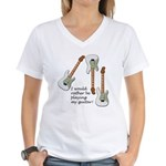 Playing My Guitar Women's V-Neck T-Shirt