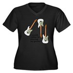 Playing My Guitar Women's Plus Size V-Neck Dark T-