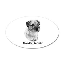 Border Terrier Charcoal 35x21 Oval Wall Peel