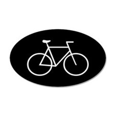 Black/White Bike 35x21 Oval Wall Peel
