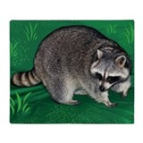 Raccoon Green Throw Blanket