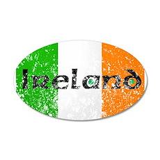 Ireland Flag Distressed Look 20x12 Oval Wall Peel