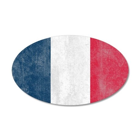 Vintage French Flag 35x21 Oval Wall Peel