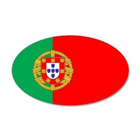 Portuguese Flag of Portugal 35x21 Oval Wall Peel