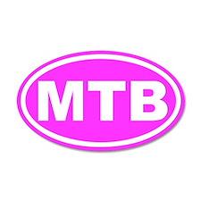 MTB Mountain Biking Pink Euro 20x12 Oval Wall Peel