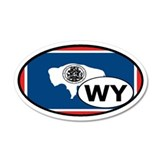 Wyoming State Flag 20x12 Oval Wall Peel