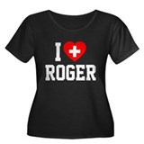 I Love Roger Women's Plus Size Scoop Neck Dark T-S