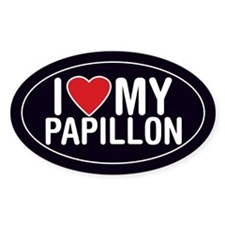 I Love My Papillon Sticker/Decal (Oval)