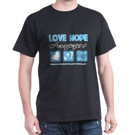 Prostate Cancer Love Hope Dark T-Shirt