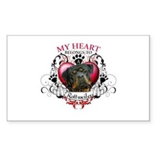 My Heart Belongs to a Rottweiler 3 Decal