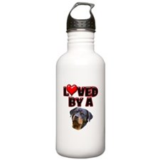 Loved by a Rottweiler 3 Water Bottle