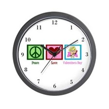 Peace Love Valentine Wall Clock