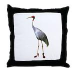 Red Heron Wearing Shoes Throw Pillow