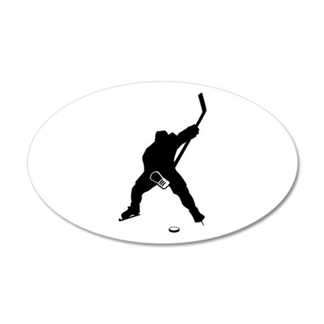 Hockey Player 35x21 Oval Wall Peel