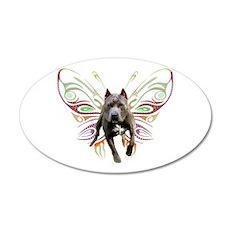 Pit Bull Butterfly Art 20x12 Oval Wall Peel