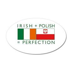 Irish Polish flags 35x21 Oval Wall Peel