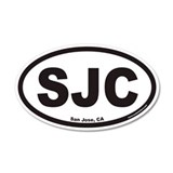 San Jose California SJC Euro 35x21 Oval Wall Peel
