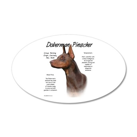 Red Doberman Pinscher 35x21 Oval Wall Peel