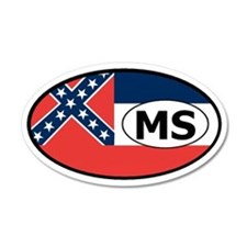 Mississippi State Flag 35x21 Oval Wall Peel