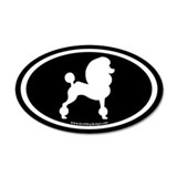 Fancy Poodle Oval (white on black) Wall Decal