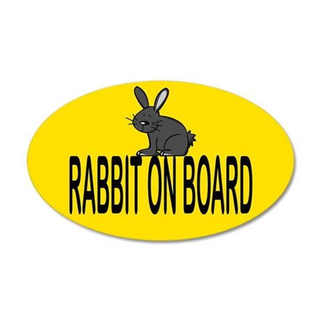 Rabbit on board 20x12 Oval Wall Peel
