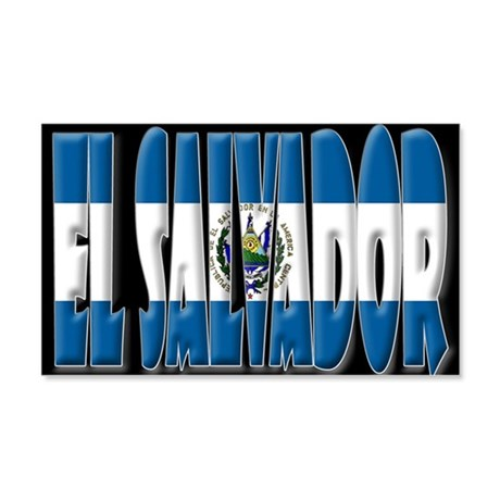 Word Art Flag of El Salvador 20x12 Wall Peel