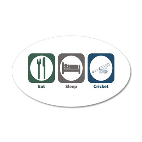 Eat Sleep Cricket 35x21 Oval Wall Peel