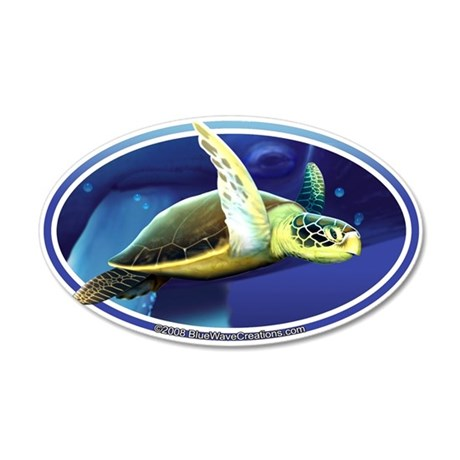 Sea Turtle & Whale sticker decal (oval)