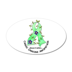 Flower Ribbon CELIAC DISEASE 35x21 Oval Wall Peel